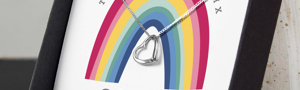 Personalised Rainbow Sentiment Silver Tone Necklace & Box